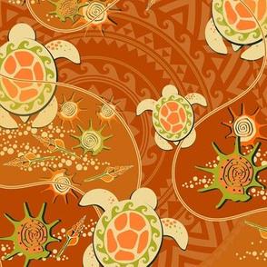 Hawaii, Beige turtles on an orange background
