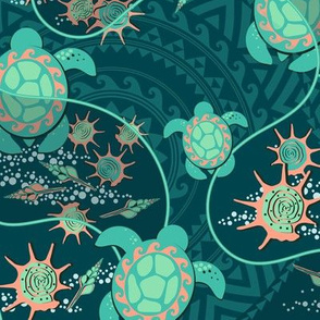 Hawaii, Turquoise turtles on a dark turquoise background