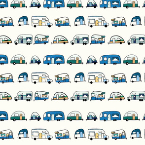 Retro Campers - retro trailers and camper vans -  blue green yellow - small scale