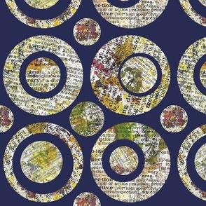 Collage Circles Navy  Large