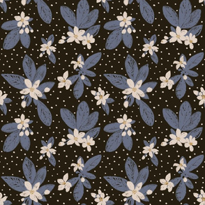 Large Boho Floral with Dot - blue, black, cream