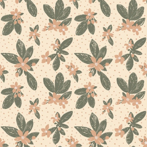 Large Boho Floral with Dot -  Green, peach, cream