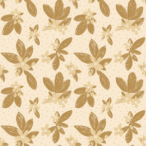 Large Boho Floral with Dot - Ochre, cream, honey