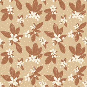 Large Boho Floral with Dot - Sienna, Cream, honey