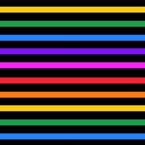Rainbow stripe on black - horizontal (mini)
