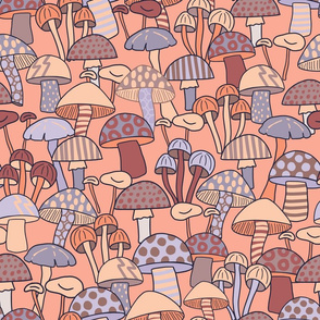 Maximalist Mushrooms - Large Scale - Peach and Lilac