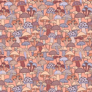 Maximalist Mushrooms - Micro Print - Peach and Lilac