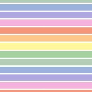 Bright pastel rainbow and white stripes - horizontal (mini)