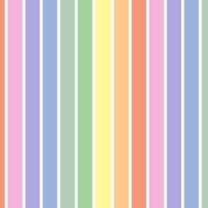 Bright pastel rainbow and white stripes - vertical (mini)
