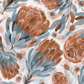 Lovely Proteas (blue-bronze)