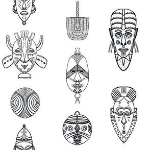 african masks white