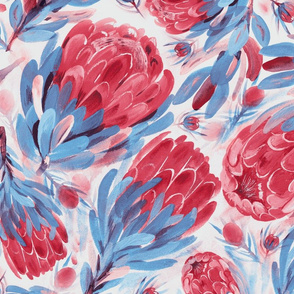 Lovely Proteas (blue-red)