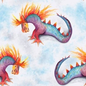 Dragon snake rainbow watercolor sky blue textured