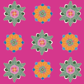 colorful rosettes on pink large