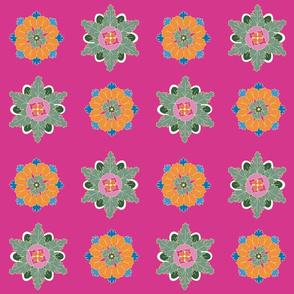 colorful rosettes on pink medium