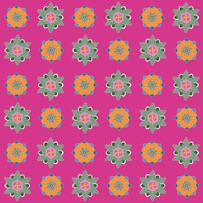 colorful rosettes on pink small
