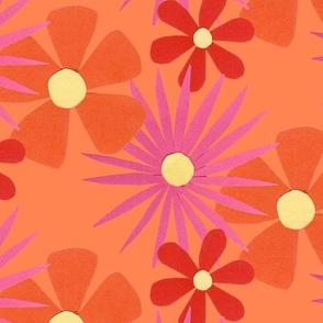 60's flowers orange
