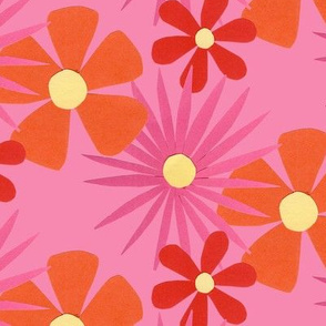 60's flowers pink