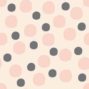 Dots - grey and powder pink
