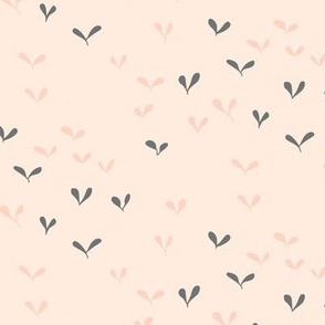 Tiny leaves - pink and grey