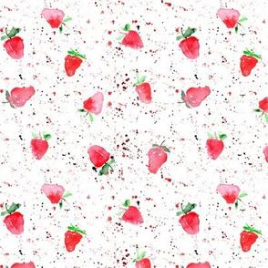 baby strawberries with splatters - watercolor berries p84