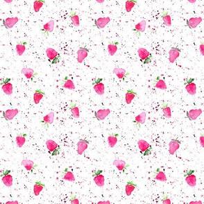 watercolor strawberries with splatters p84-26
