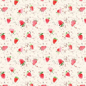 Tiny strawberries on cream with splatters - watercolor berries p84
