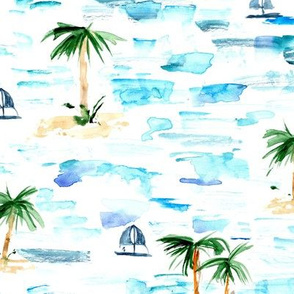 paradise sea view - watercolor brush stroke ocean with palms and boats - summer holiday vibes pa857-1