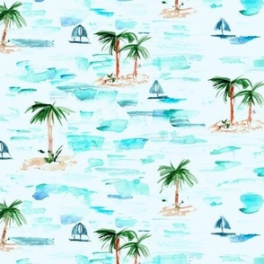paradise sea view - watercolor ocean with palms and boats - summer holiday vibes pa857