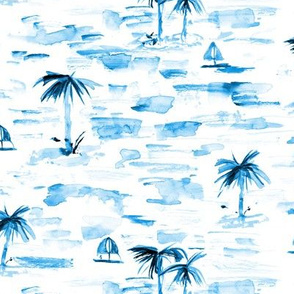 Sapphire blue paradise sea view - watercolor ocean with palms and boats - summer holiday vibes pa857-6