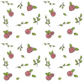 Hand Drawn Roses Pink