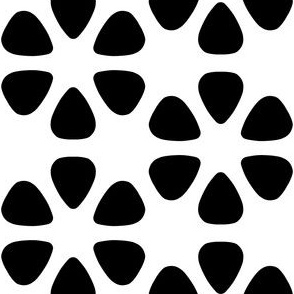 guitar pick flowers - black and white