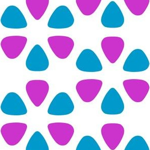 guitar pick flowers - magenta and turquoise