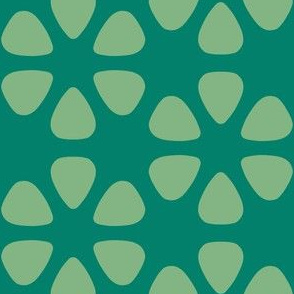 guitar pick flowers - green-gold on green