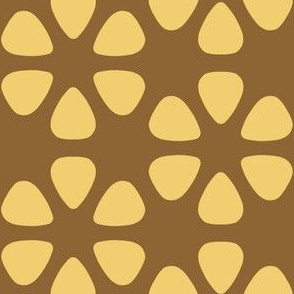 guitar pick flowers - gold on wheat brown