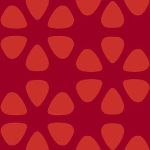 guitar pick flowers - vermilion on ruby red