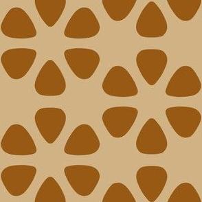 guitar pick flowers - brown on tan