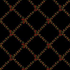 Belvedere Floral Vine Diamond  ~ Christmas on Black