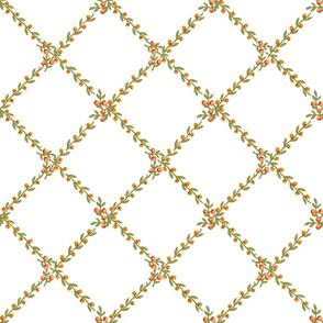 Belvedere Floral Vine Diamond  ~ Peach on White