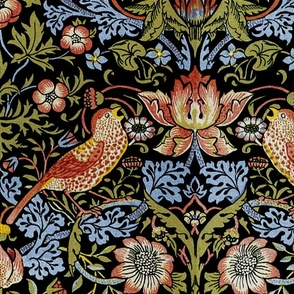 William Morris ~ Strawberry Thief ~ Bright Blue on Black ~ Large