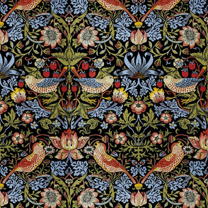 William Morris ~ Strawberry Thief ~ Bright Blue on Black ~ Medium