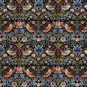 William Morris ~ Strawberry Thief ~ Bright Blue on Black ~ Medium Small