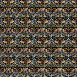 William Morris ~ Strawberry Thief ~ Bright Blue on Black ~ Wee