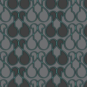 Art Deco Modern Keyhole Orchid  Turquoise in Gray neutrals