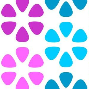 guitar pick flower stripes - magenta and turquoise
