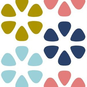 guitar pick flowers - navy, coral pink, bronze and light blue