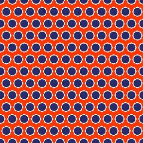 Mod Flowers - Blue/Orange - Small Scale