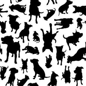 Pitbull Breed Silhouettes - BW medium scale