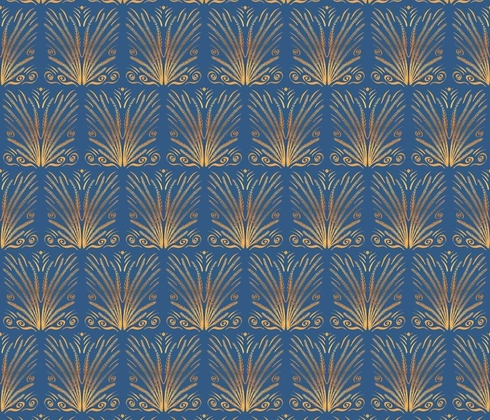 Wild Grass Copper and Gold on Slate Blue Art Deco Modern