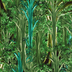 Emerald Rain Forrest seamless trees